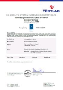 Modul D SEAANGEL SA14, SA15, SA16 FLARE Zertifikat